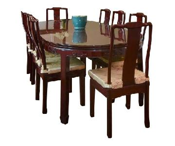 Chinese Rosewood Dining Table w/ 8 Chairs
