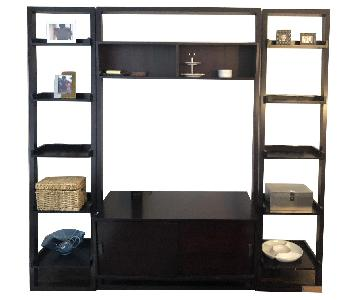"""Crate & Barrel Sawyer Leaning Media Stand & 18"""" Bookcases"""