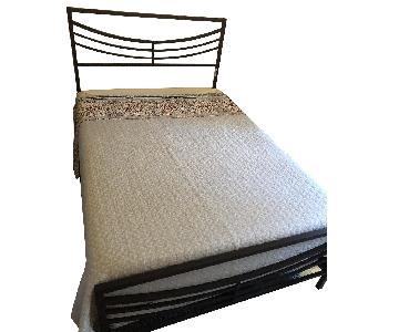 Dark Grey/Brown Metal Bed Frame