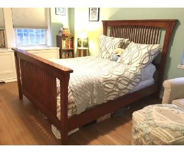 Shaker Style Cherry Wood Queen Bed Frame w/ Slatted Base
