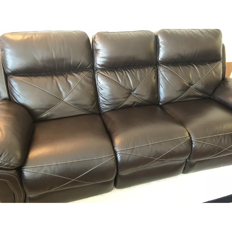 Bobu0027s Brown Faux Leather Reclining Sofa ...