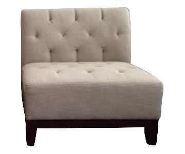 Macy's Beige Tufted Chair w/ Cherry Wood Base