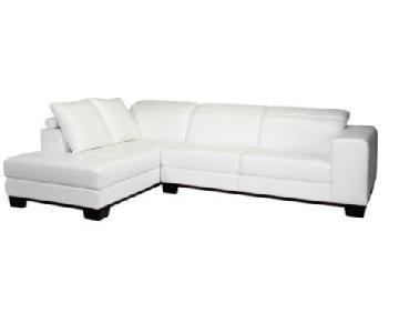 Z Gallerie White Sectional w/ Chaise & Adjustable Headrests