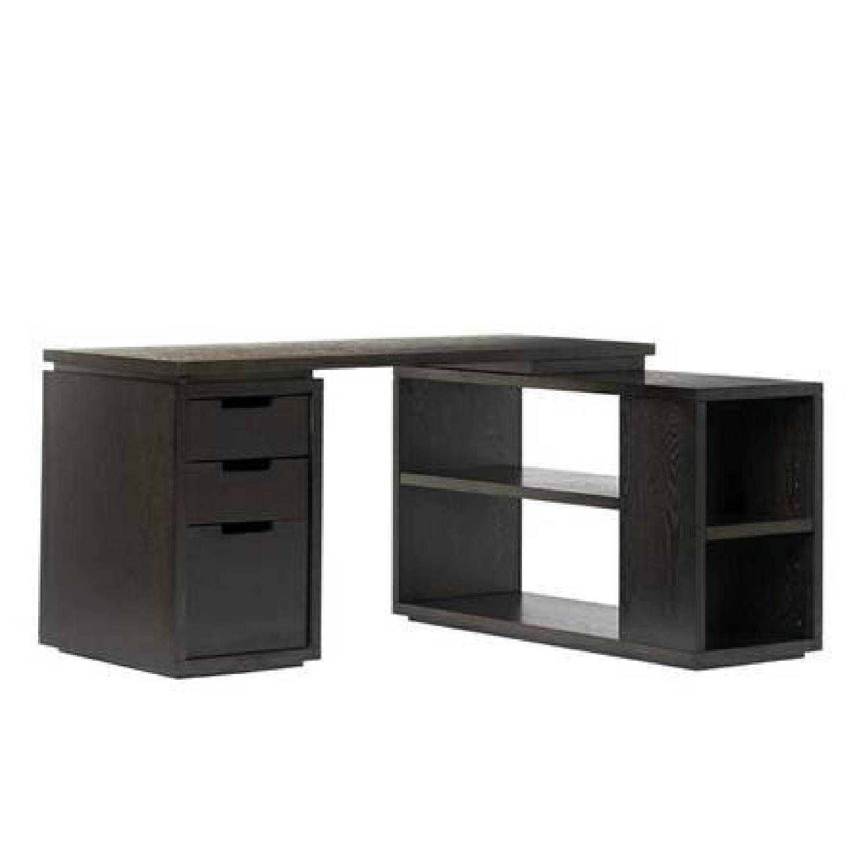 West Elm Modular L Shaped Desk in Dark Chocolate Wood