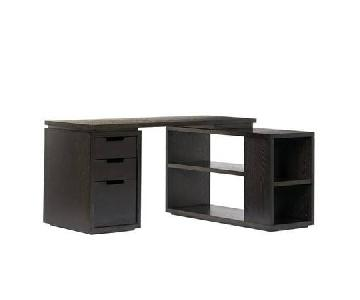 West Elm Modular L Shaped Desk in Dark Chocolate Wood