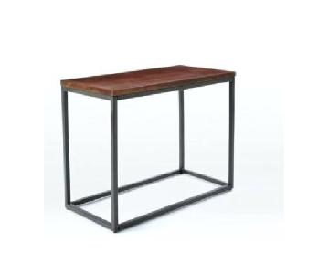 West Elm Box Frame Narrow Side Table in Cafe Brown
