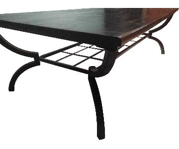 Vintage Wooden & Iron Coffee Table