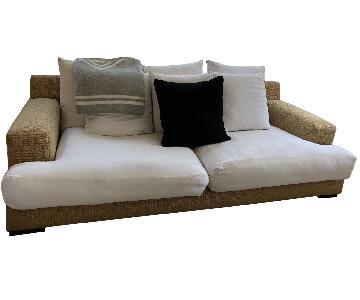 3- Seater Sofa in White & Tan