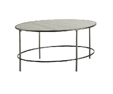 Pottery Barn Metal & Mirrored Oval Coffee Table