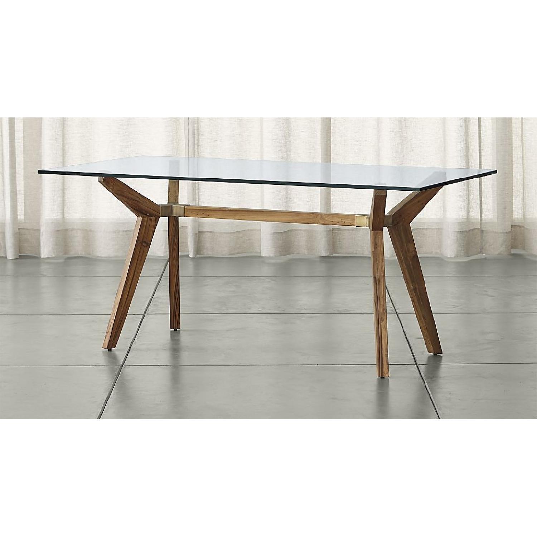 Crate Amp Barrel Strut Teak Glass Top Table Aptdeco