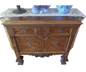 Antique Gothic Burled Walnut Commode/Chest/Console