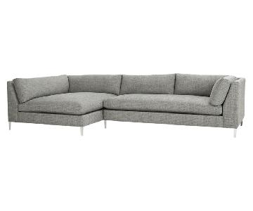 CB2 2-Piece Decker Sectional Sofa in Lexi Salt & Pepper