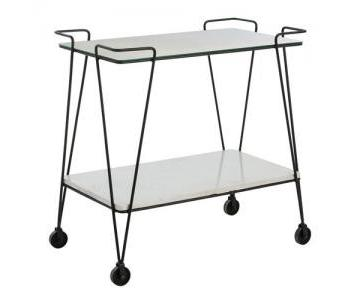 Zin Home Myrtle Antiqued Mirrored White Marble Bar Cart