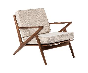 Sit Down NY Forza Lounger Chair in Sand w/ Walnut Frame