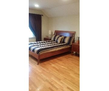 Natural Solid Wood Queen Sleigh Bed w/ Headboard