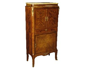 French Inlaid Sideboard in Wood w/ Marble Top