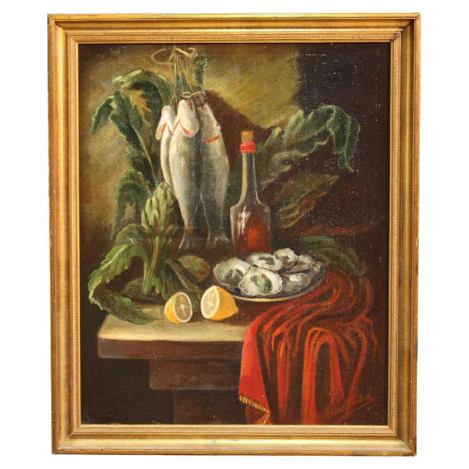 Spanish Still Life Signed Painting Oil On Canvas