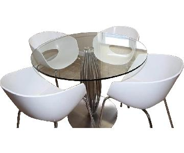 Round Glass & Steel Table w/ 4 CB2 Orbit Chairs