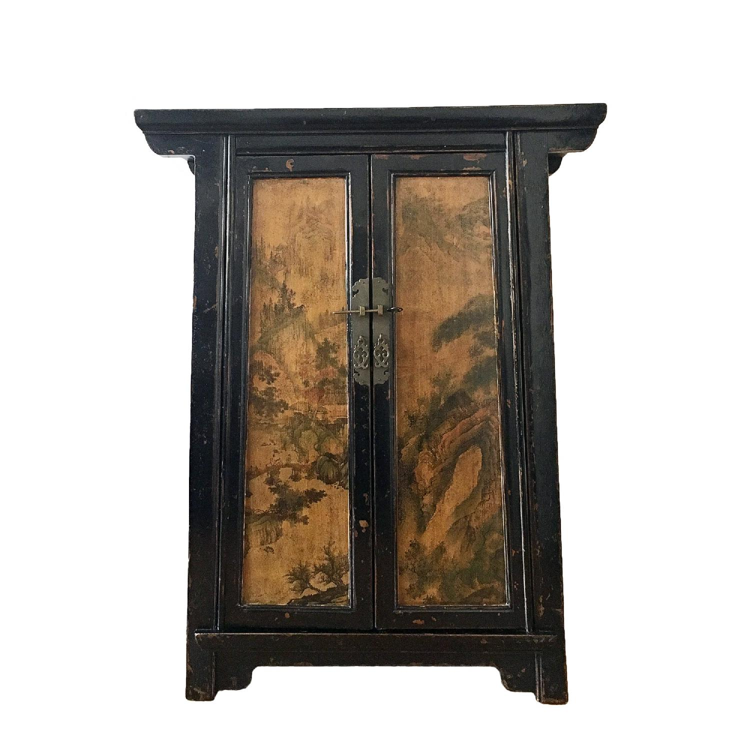Antique Chinese Lacquered Side 2 Door Medium Cabinet