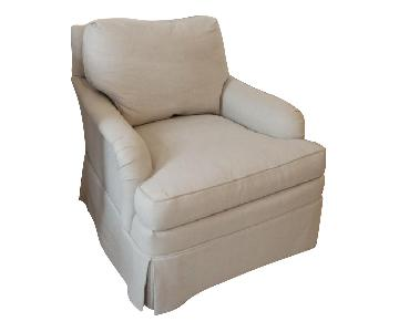 Baker Re-Upholstered Armchairs & Ottomon