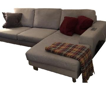 Light Grey Fabric 3-Piece Chaise Sectional Sofa