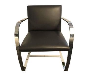 Knoll Mies Van Der Rohe Leather Flat Bar Brno Chair
