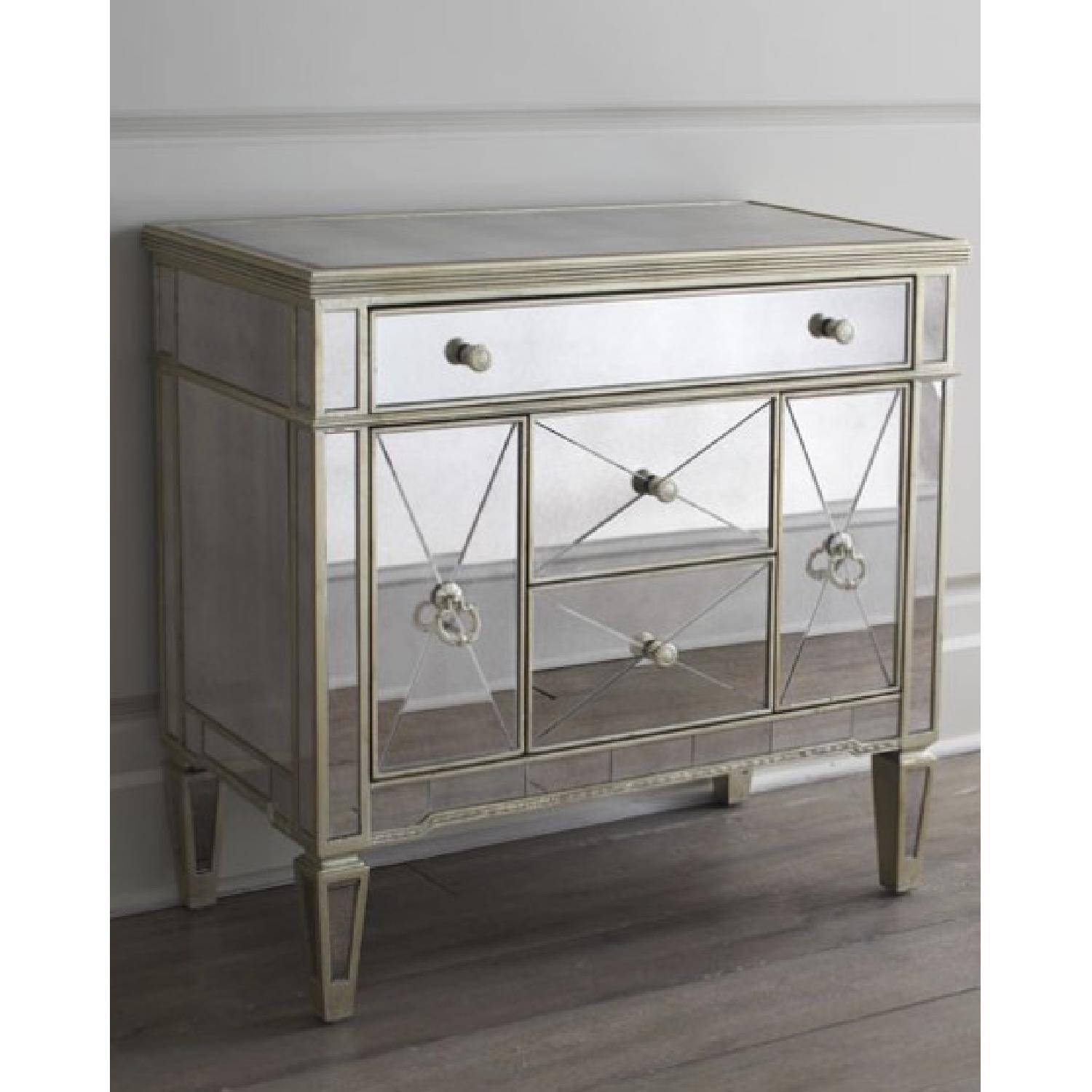 Neiman Marcus Antiqued Mirrored Chests/Dressers