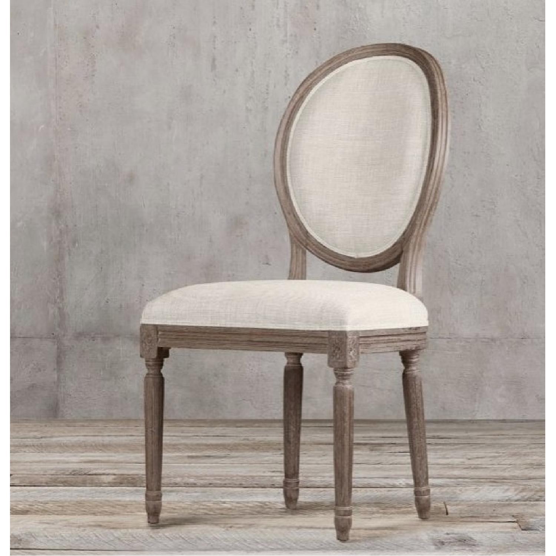 Restoration Hardware Vintage French Round Fabric Back Chairs - image-0