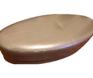 Raymour & Flanigan Modern Oval Leather Ottoman