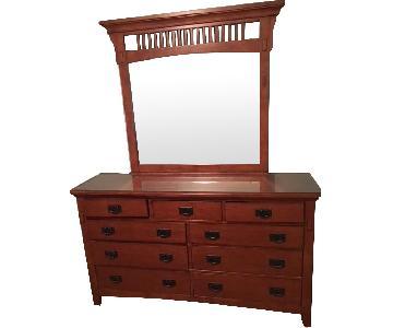 Cherry Wood 9-Drawer Dresser w/ Mirror