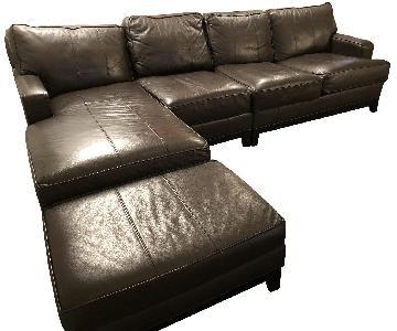 Ethan Allen Arcata Leather Sectional Sofa & Ottoman
