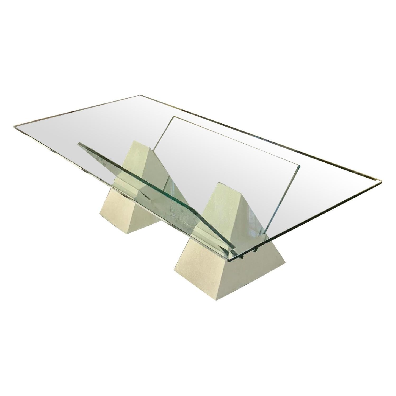 Post Modern Faux Travertine Base & Glass Top Coffee Table