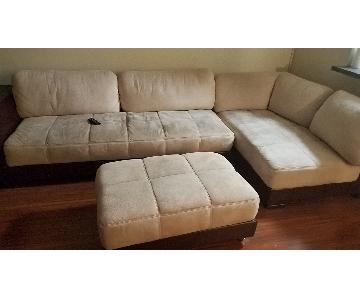 Beige Microsuede & Brown Leather Sectional Sofa