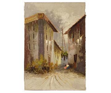 Italian Landscape Painting Mixed Media On Canvas