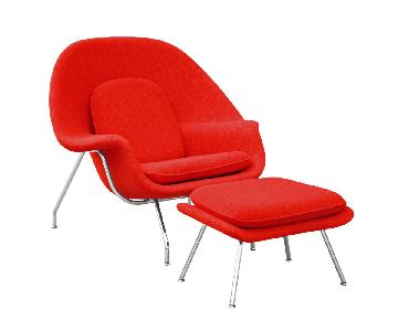 Mid Century Modern Saarinen Womb Chair & Ottoman Replica