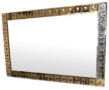 Rectangular Mirror w/ Circular Border Detail