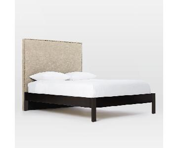 West Elm Simple Bed Frame w/ Tall Nailhead Headboard