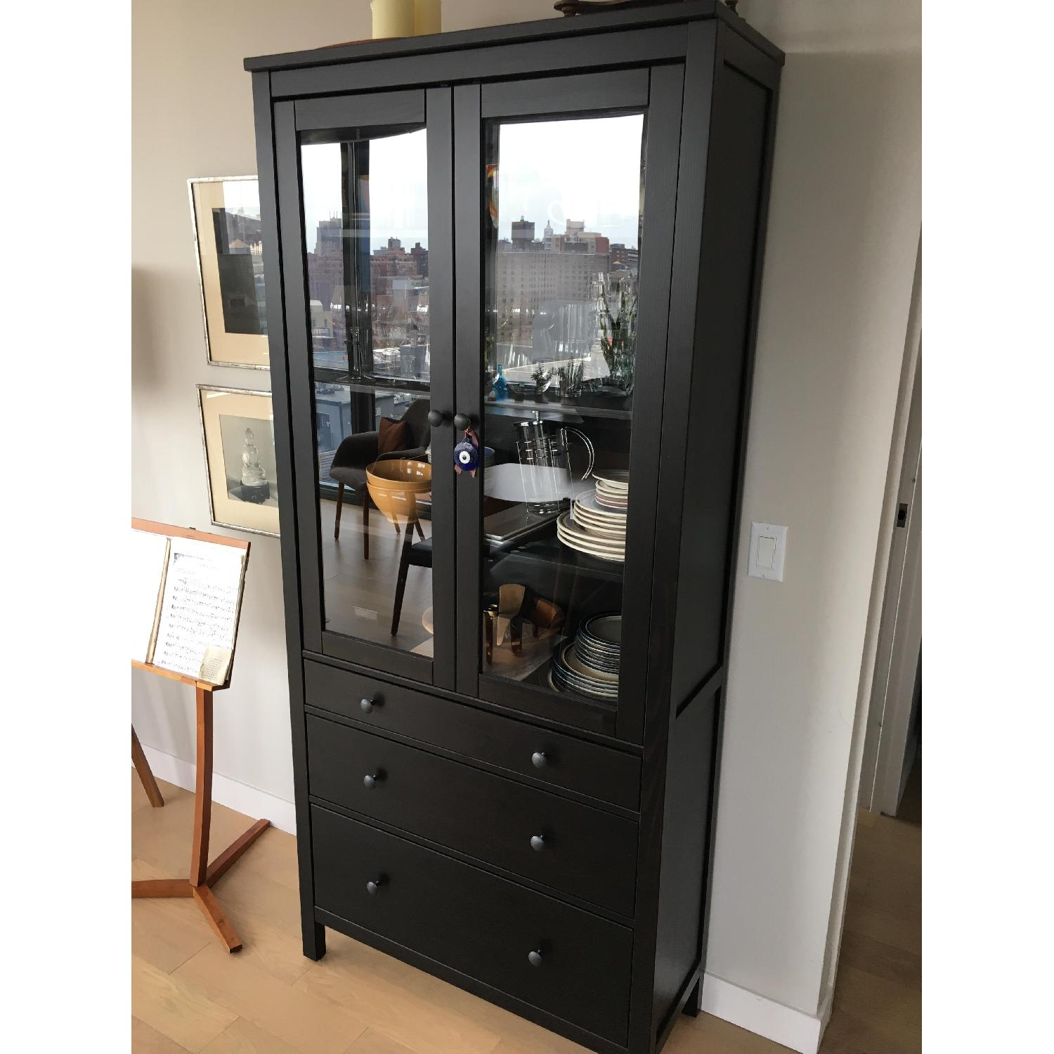 Ikea hemnes glass door cabinet w 3 drawers in aptdeco ikea hemnes glass door cabinet w 3 drawers in brown black 0 planetlyrics Choice Image