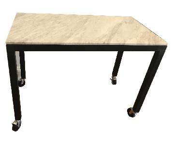 Custom White Marble & Steel Rolling Counter Height Table