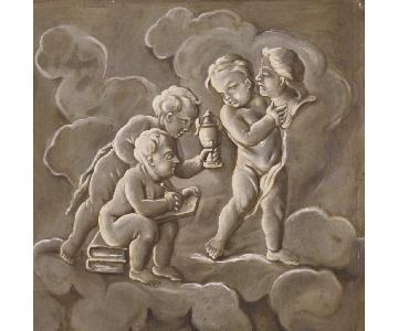 19th Century French Painting Allegory Of Sculpture