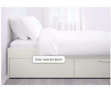 Ikea Brimnes White Storage Bed Frame w/ Storage