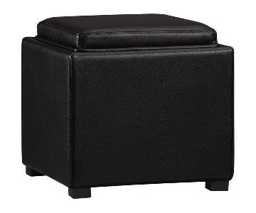 Crate & Barrel Black Leather Storage Cubes/Ottomans