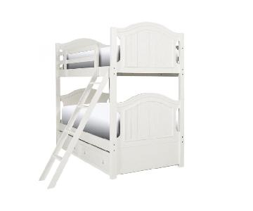 Raymour & Flanigan Twin-Over-Twin White Bunk Bed w/ Trundle