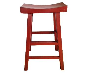 Burnt Orange Wooden Stool