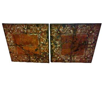 Olde Good Things Antique Large Painted Tin Tiles