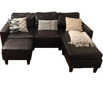 Black Faux Leather 3-Piece Sectional Sofa