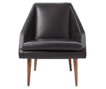 West Elm Parker Slipper Chair in Black Leather