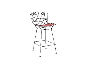 Design Within Reach Bertoia Bar Stool w/ Red Cushion