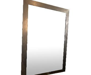 Custom Made Large Brushed Silver Industrial Style Mirror
