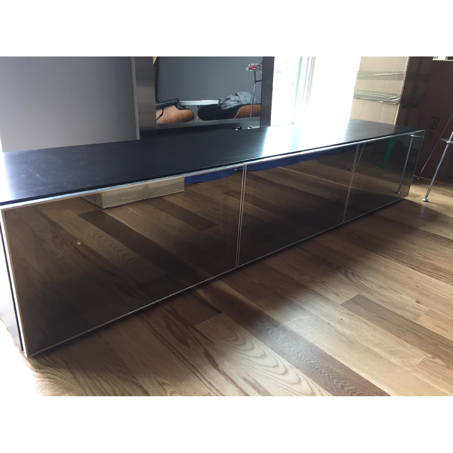 Wood/Mirror Media Console Table-1